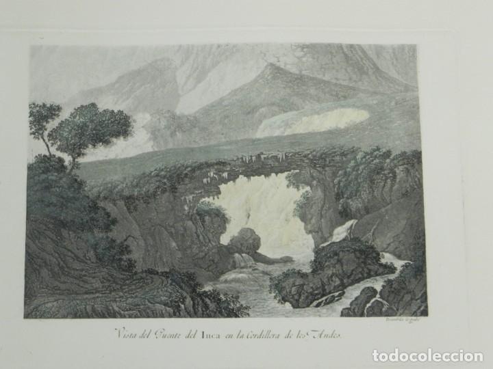 GRABADO COLOREADO DE FERNANDO BRAMBILA. LA GRAN EXPEDICIÓN MALASPINA, VISTA DEL PUENTE INCA EN LA CO (Arte - Grabados - Contemporáneos siglo XX)