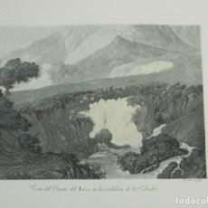 Arte: GRABADO COLOREADO DE FERNANDO BRAMBILA. LA GRAN EXPEDICIÓN MALASPINA, VISTA DEL PUENTE INCA EN LA CO. Lote 169162204