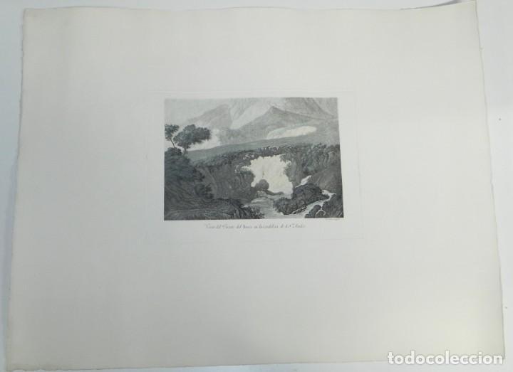 Arte: GRABADO COLOREADO DE FERNANDO BRAMBILA. La Gran Expedición Malaspina, VISTA DEL PUENTE INCA EN LA CO - Foto 2 - 169162204