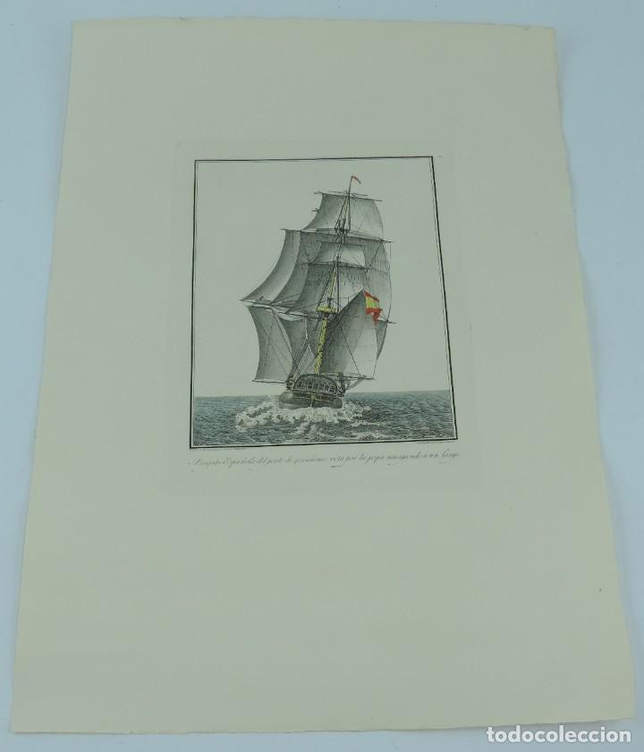 Arte: GRABADO POR AGUSTÍN BERLINGUERO. Fragata Española del porte de 40 cañones vista por la popa navegand - Foto 2 - 169168304