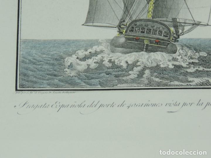 Arte: GRABADO POR AGUSTÍN BERLINGUERO. Fragata Española del porte de 40 cañones vista por la popa navegand - Foto 3 - 169168304