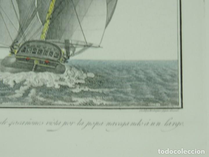 Arte: GRABADO POR AGUSTÍN BERLINGUERO. Fragata Española del porte de 40 cañones vista por la popa navegand - Foto 4 - 169168304