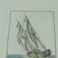 Arte: GRABADO DE AGUSTÍN BERLINGUERO. BERGANTIN ESPAÑOL, DEL PORTE DE 16 CAÑONES CIÑENDO EL VIENTO. LA MAR. Lote 169169616
