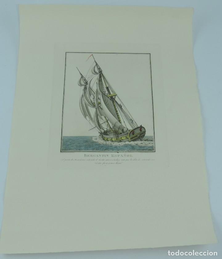 Arte: GRABADO DE AGUSTÍN BERLINGUERO. Bergantin español, del porte de 16 cañones ciñendo el viento. La mar - Foto 2 - 169169616