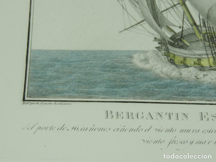 Arte: GRABADO DE AGUSTÍN BERLINGUERO. Bergantin español, del porte de 16 cañones ciñendo el viento. La mar - Foto 3 - 169169616