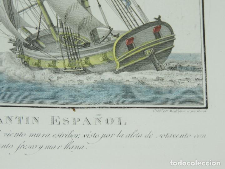 Arte: GRABADO DE AGUSTÍN BERLINGUERO. Bergantin español, del porte de 16 cañones ciñendo el viento. La mar - Foto 4 - 169169616