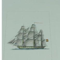 Arte: GRABADO DE C. MARQUERIE. NAVIO ESPAÑOL. MEDIDAS DEL PAPEL 49 X 35 CM. LA MARCA DEL GRABADO MIDE 22 . Lote 169172488