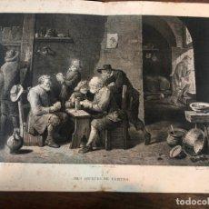 Arte: LOTE ANTIGUO GRABADO LOS FUMADORES Y DES JOUEURS DE CARTES - MEDIDA 44X33 CM Y 41X30 CM. Lote 169326444
