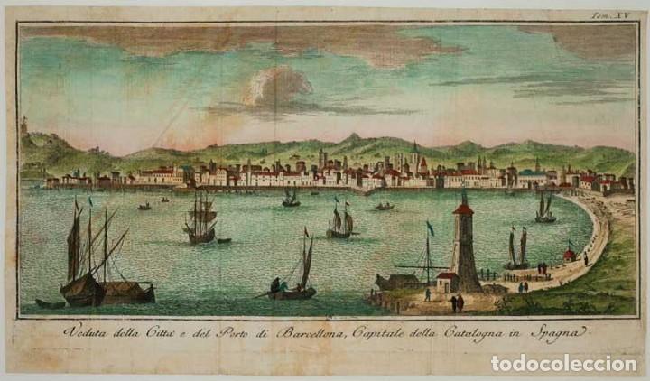VEDUTA DELLA CITTÀ E DEL PORTO DI BARCELLONA, CAPITALE DELLA CATALOGNA IN SPAGNA. (Arte - Grabados - Antiguos hasta el siglo XVIII)