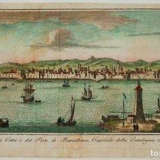 Arte: VEDUTA DELLA CITTÀ E DEL PORTO DI BARCELLONA, CAPITALE DELLA CATALOGNA IN SPAGNA.. Lote 169341228