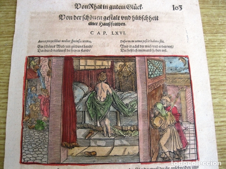 2 GRABADOS: ESCENA ERÓTICA Y FAMILIAR 1532. HANS WEIDITZ (Arte - Grabados - Antiguos hasta el siglo XVIII)