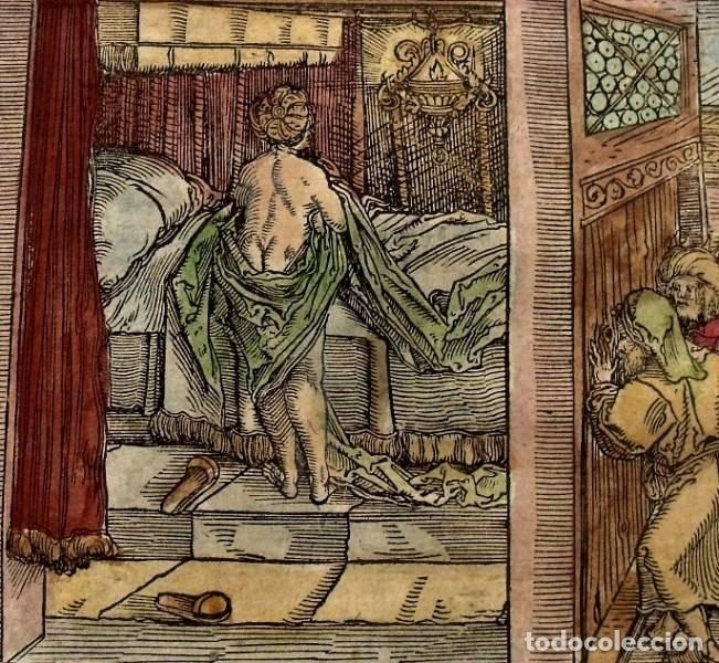 Arte: 2 grabados: escena erótica y familiar 1532. Hans Weiditz - Foto 2 - 169468285