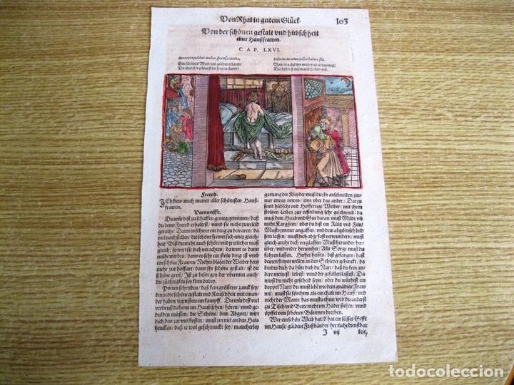 Arte: 2 grabados: escena erótica y familiar 1532. Hans Weiditz - Foto 3 - 169468285