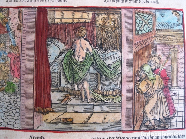 Arte: 2 grabados: escena erótica y familiar 1532. Hans Weiditz - Foto 5 - 169468285