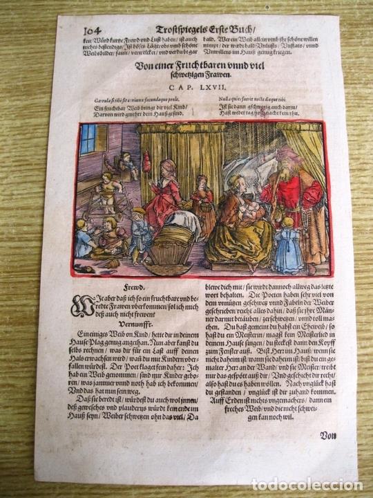 Arte: 2 grabados: escena erótica y familiar 1532. Hans Weiditz - Foto 7 - 169468285