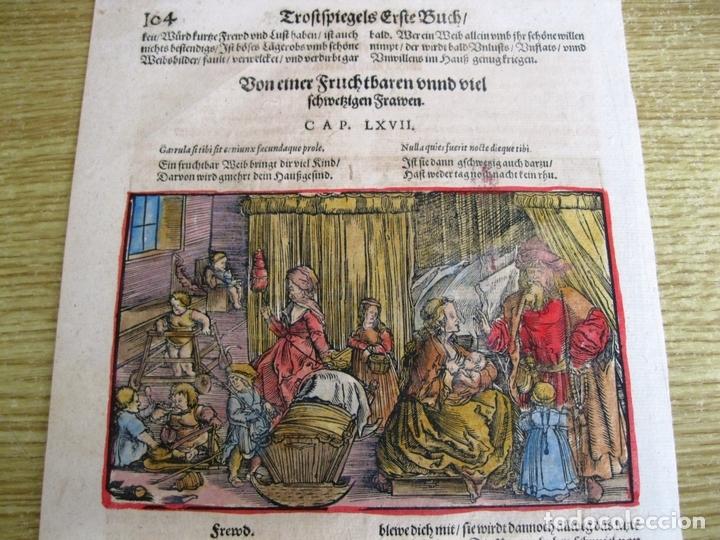 Arte: 2 grabados: escena erótica y familiar 1532. Hans Weiditz - Foto 8 - 169468285