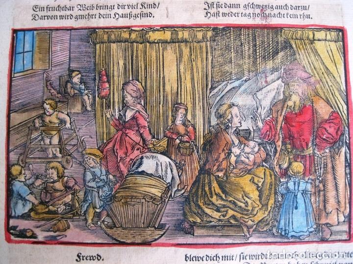 Arte: 2 grabados: escena erótica y familiar 1532. Hans Weiditz - Foto 10 - 169468285