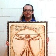 Arte: HOMBRE DE VITRUVIO - LEONARDO DA VINCI - CUADRO PIROGRAFIADO 80 X 60 CM. Lote 169877336