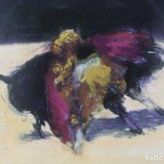 Arte: MIGUEL MACAYA, GRABADO, ESCENA TAURINA, TORO Y TORERO, PRUEBA DE TALLER SELLADA. 70,5X56,5CM. Lote 170104276