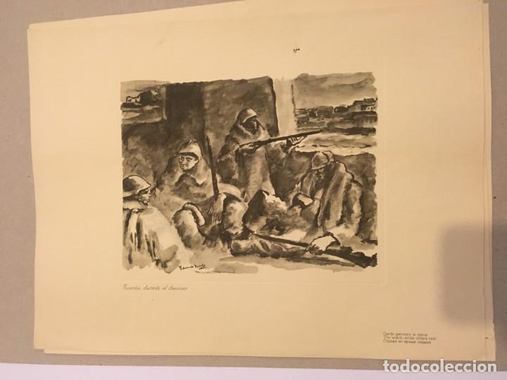 EDUARDO VICENTE. GRABADO. GUARDIA DURANTE EL DESCANSO [GUERRA CIVIL] 1937 (Arte - Grabados - Contemporáneos siglo XX)