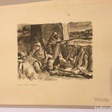 Arte: EDUARDO VICENTE. GRABADO. GUARDIA DURANTE EL DESCANSO [GUERRA CIVIL] 1937. Lote 170353488
