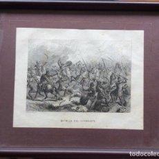 Arte: ANTIGUO GRABADO BATALLA DE GUADALETE -S XIX - LECHARD GRABADOR. Lote 170977418