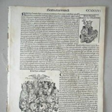Arte: 1493 GRABADO HOJA ORIGINAL INCUNABLE LIBER CHRONICARUM VERSION LATINA (HARTMANN / SCHEDEL). Lote 171154997