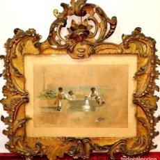 Arte: NIÑOS JUGANDO. LITOGRAFIA COLOREADA A LA ACUARELA. MARCO ROCOCÓ. ESPAÑA. XIX. Lote 171334787