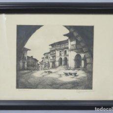 Arte: BONITO GRABADO DE SANTILLANA DEL MAR. FIRMADO. Lote 171405332