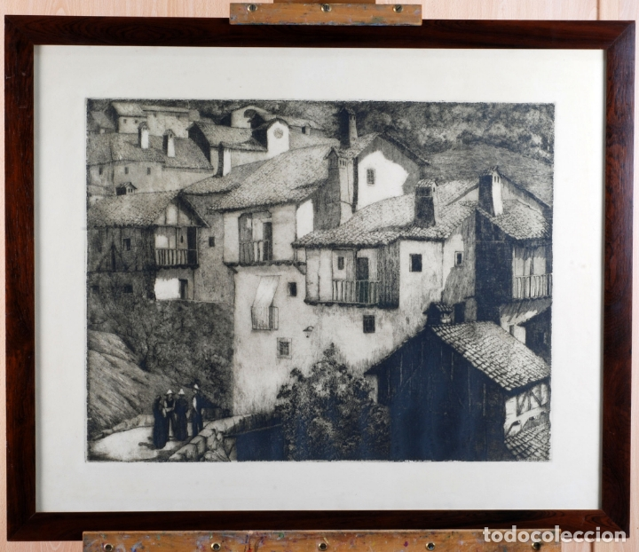 PAISAJE RURAL GRABADO DE LUIS ALEGRE NUÑEZ MADRID 1918 1969 (Arte - Grabados - Contemporáneos siglo XX)