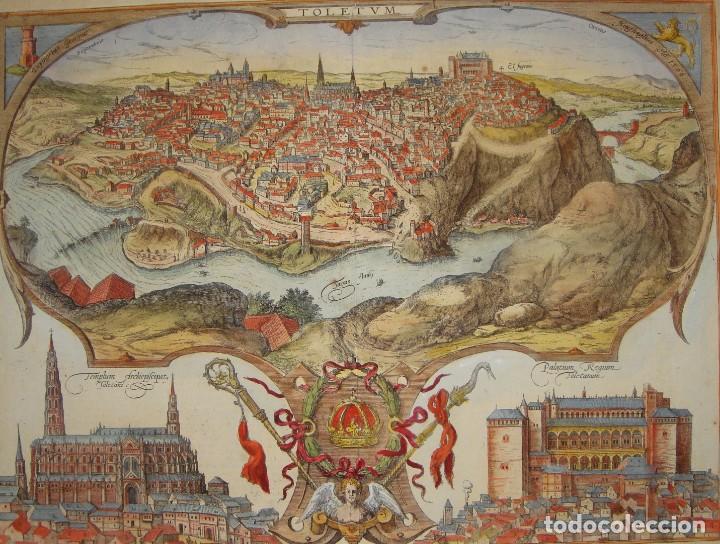 GRABADO DE TOLEDO / TOLETUM. VISTA DE PÁJARO. 1566 (Arte - Grabados - Antiguos hasta el siglo XVIII)