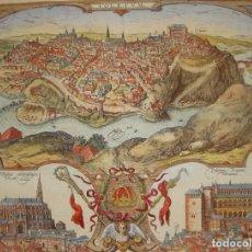 Arte: GRABADO DE TOLEDO / TOLETUM. VISTA DE PÁJARO. 1566. Lote 171531827