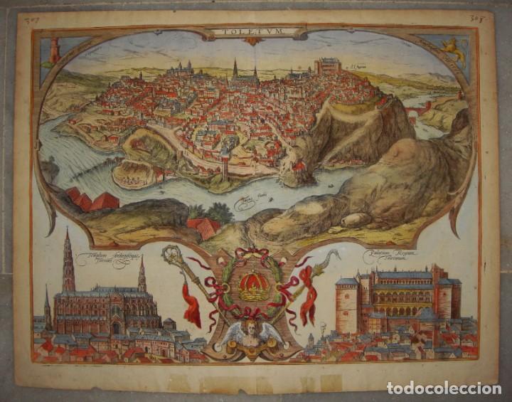 Arte: Grabado de Toledo / Toletum. Vista de pájaro. 1566 - Foto 2 - 171531827