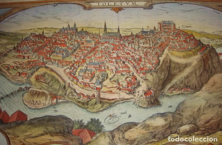 Arte: Grabado de Toledo / Toletum. Vista de pájaro. 1566 - Foto 3 - 171531827