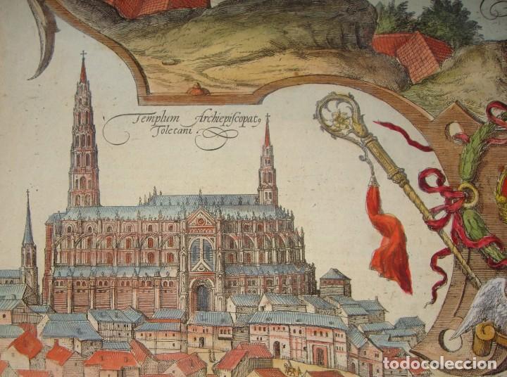 Arte: Grabado de Toledo / Toletum. Vista de pájaro. 1566 - Foto 4 - 171531827