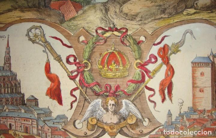 Arte: Grabado de Toledo / Toletum. Vista de pájaro. 1566 - Foto 5 - 171531827