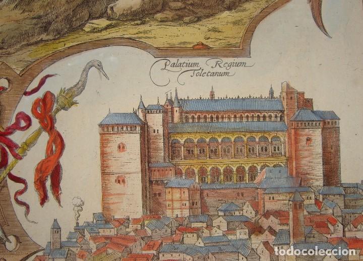 Arte: Grabado de Toledo / Toletum. Vista de pájaro. 1566 - Foto 6 - 171531827