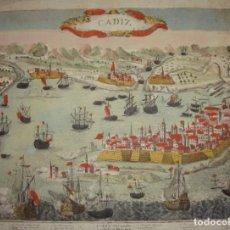Arte: GRABADO DE CÁDIZ. S.XVIII. CÁDIZ OBISPADO Y CELEBRE PUERTO DE MAR EN ESPAÑA. ILUMINADO. (MUY RARO). Lote 171532968