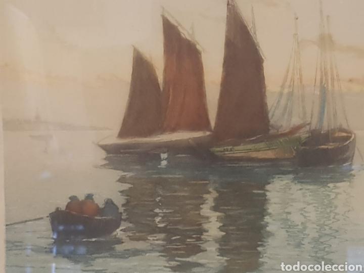 Arte: Arte. Grabado litografia pintada motivo pescadores numerada 57 firmada - Foto 2 - 171568485