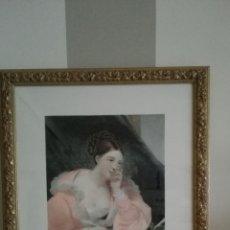 Arte: GRABADO ROMANTICO, ENMARCADO EN MADERA CON DETALLES VEGETALES.61X50.. Lote 172630389