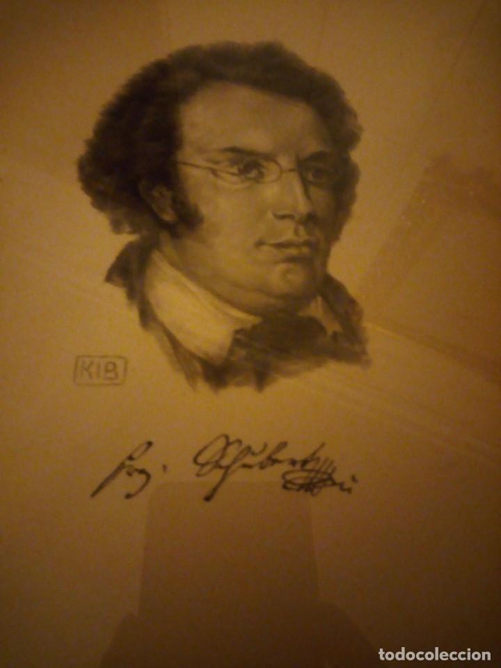 GRABADO AUTOGRAFIADA DE FRANZ SCHUBERT (1797 – 1828) (Arte - Grabados - Modernos siglo XIX)