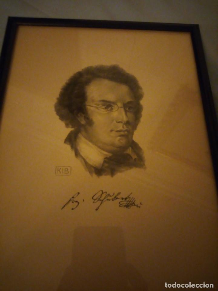 Arte: grabado autografiada de Franz Schubert (1797 – 1828) - Foto 3 - 172785380