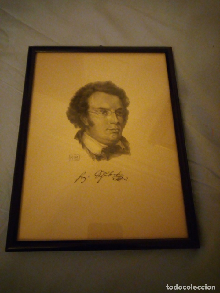 Arte: grabado autografiada de Franz Schubert (1797 – 1828) - Foto 4 - 172785380