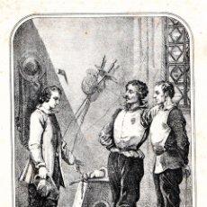 Arte: ARTE DE ESGRIMA,GRABADO SIGLO XIX,AÑO 1860 CABALLEROS EN SALA CON SABLE,ESPADA Y MASCARA.FIRMADO. Lote 173015924