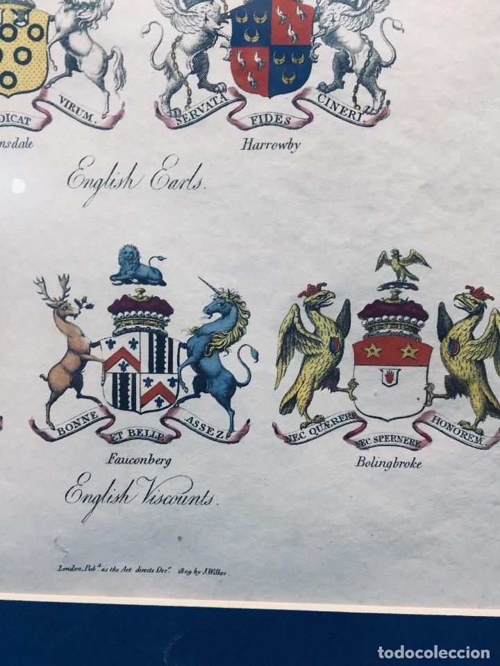 Arte: GRABADO HERALDICA INGLES COLOREADO VIZCONDES CONDES 1809 BLASONES ESCUDOS 38X31,5CMS - Foto 4 - 173026733