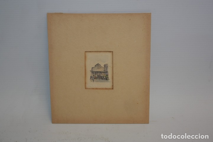 J ORIO - MINI ACUARELA - 5X3,5 CM - FELICITACIÓN DE NAVIDAD. (Arte - Grabados - Contemporáneos siglo XX)