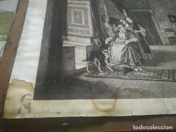 Arte: GRABADO PRESENTACION DE D. JUAN DE AUSTRIA AL EMPERADOR CARLOS V BASADO EN OBRA DE EDUARDO ROSALES - Foto 2 - 173968768