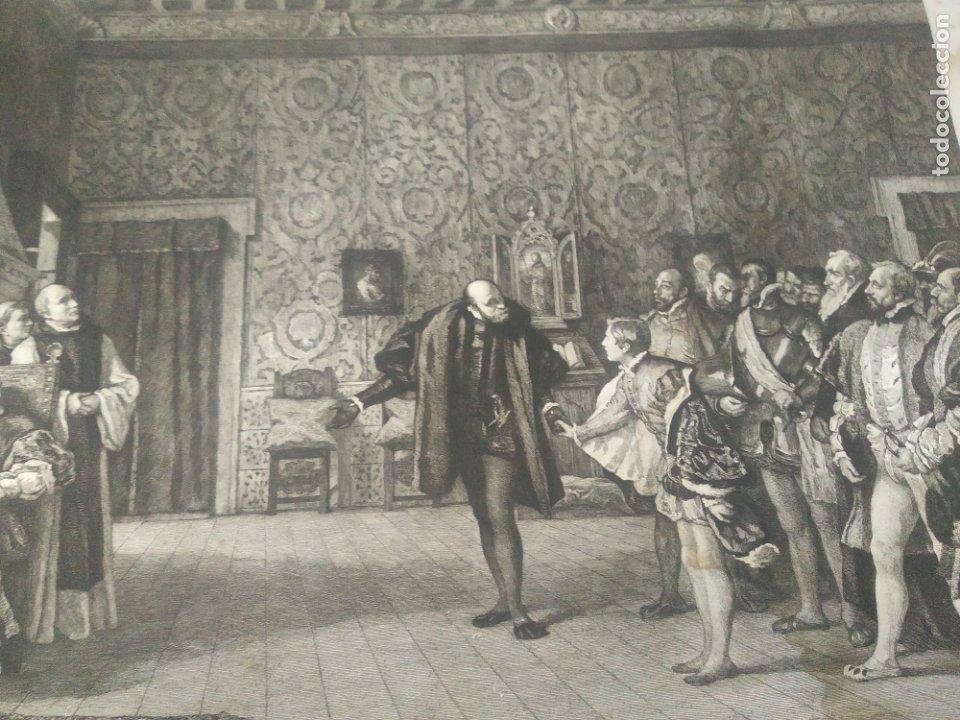 Arte: GRABADO PRESENTACION DE D. JUAN DE AUSTRIA AL EMPERADOR CARLOS V BASADO EN OBRA DE EDUARDO ROSALES - Foto 9 - 173968768