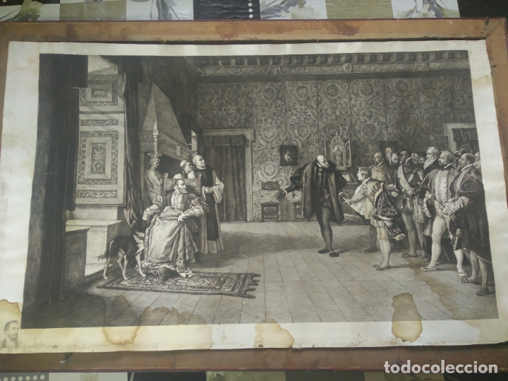 GRABADO PRESENTACION DE D. JUAN DE AUSTRIA AL EMPERADOR CARLOS V BASADO EN OBRA DE EDUARDO ROSALES (Arte - Grabados - Modernos siglo XIX)