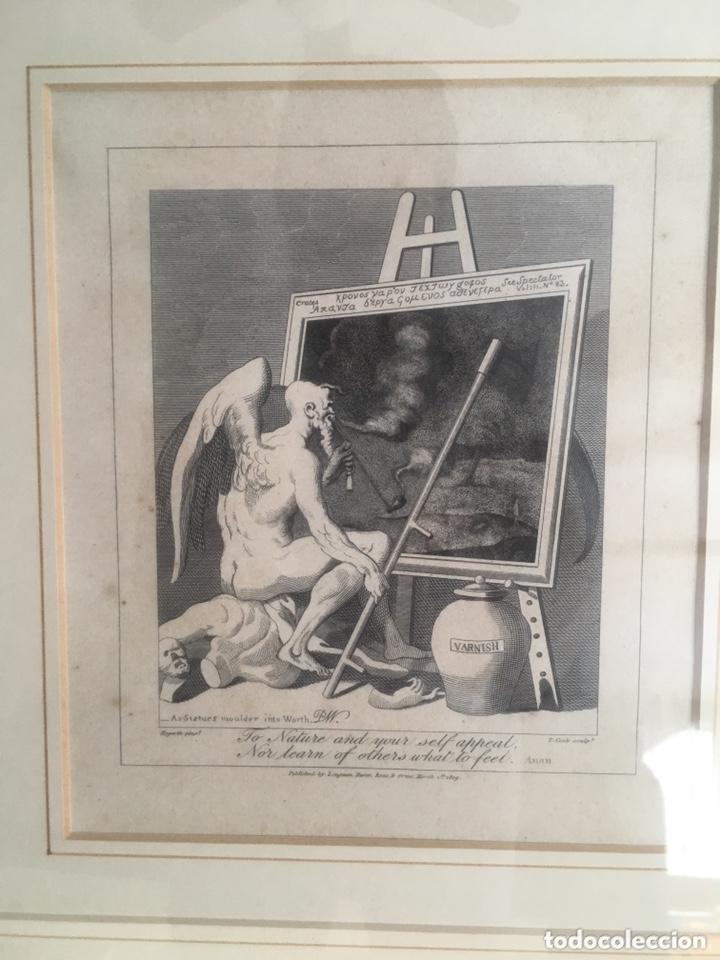 Arte: Grabado antiguo WILLIAM HOGARTH Time smoking a picture Tiempo fumando a una pintura - Foto 2 - 174038709